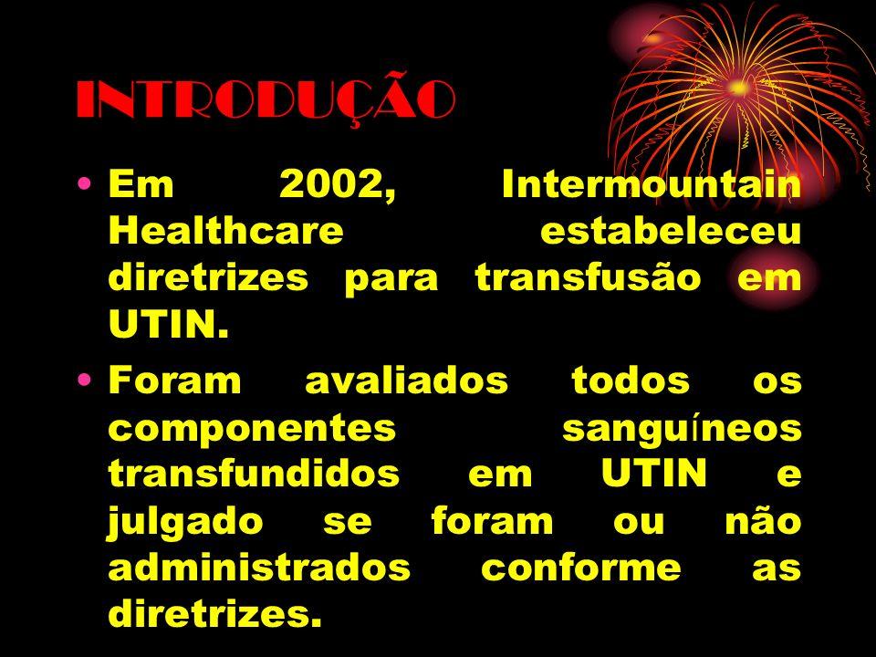 INTRODUÇÃO Em 2002, Intermountain Healthcare estabeleceu diretrizes para transfusão em UTIN.