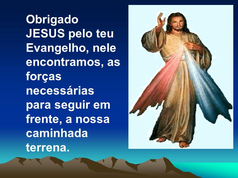 Obrigado JESUS pelo teu Evangelho, nele encontramos, as forças necessárias para seguir em frente, a nossa caminhada terrena.