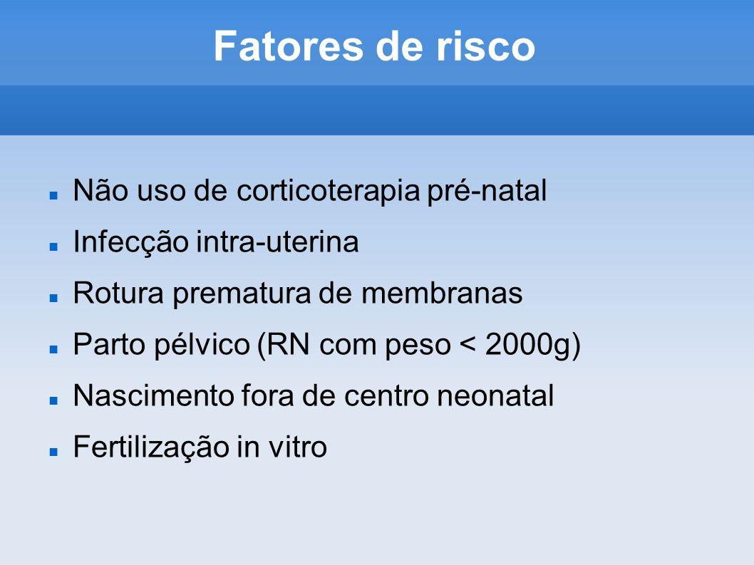 Fatores de risco Não uso de corticoterapia pré-natal