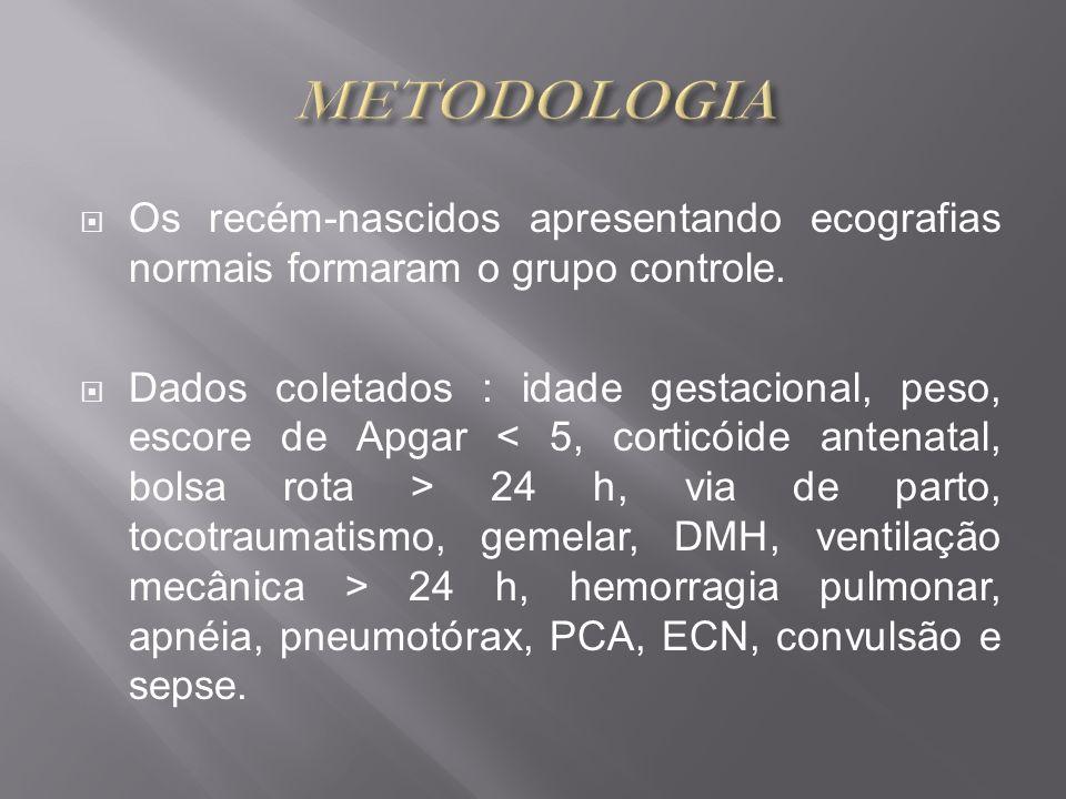 METODOLOGIA Os recém-nascidos apresentando ecografias normais formaram o grupo controle.