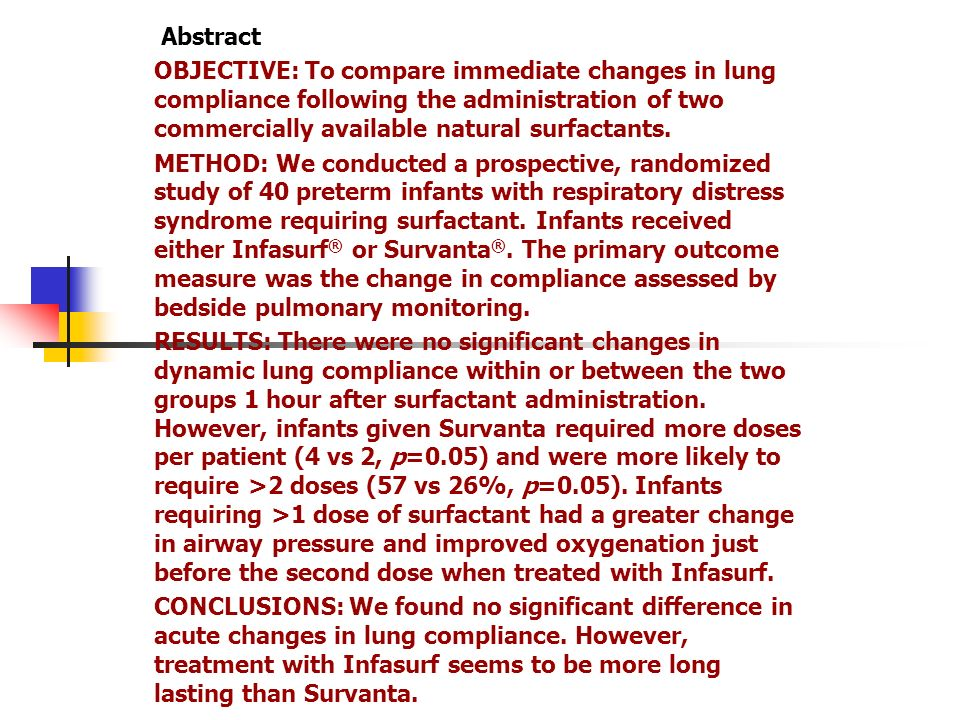 AbstractOBJECTIVE: To compare immediate changes in lung compliance following the administration of two commercially available natural surfactants.