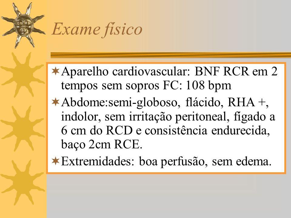 Exame físico Aparelho cardiovascular: BNF RCR em 2 tempos sem sopros FC: 108 bpm.