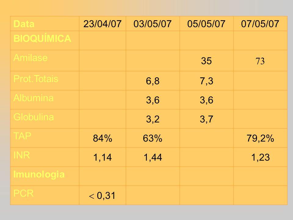 Data 23/04/07. 03/05/07. 05/05/07. 07/05/07. BIOQUÍMICA. Amilase. 35. 73. Prot.Totais. 6,8.