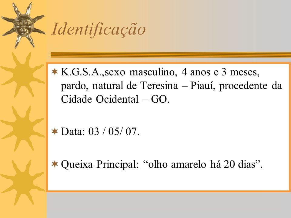 Identificação K.G.S.A.,sexo masculino, 4 anos e 3 meses, pardo, natural de Teresina – Piauí, procedente da Cidade Ocidental – GO.