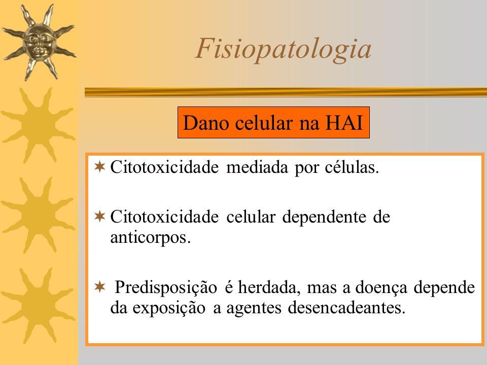 Fisiopatologia Dano celular na HAI Citotoxicidade mediada por células.