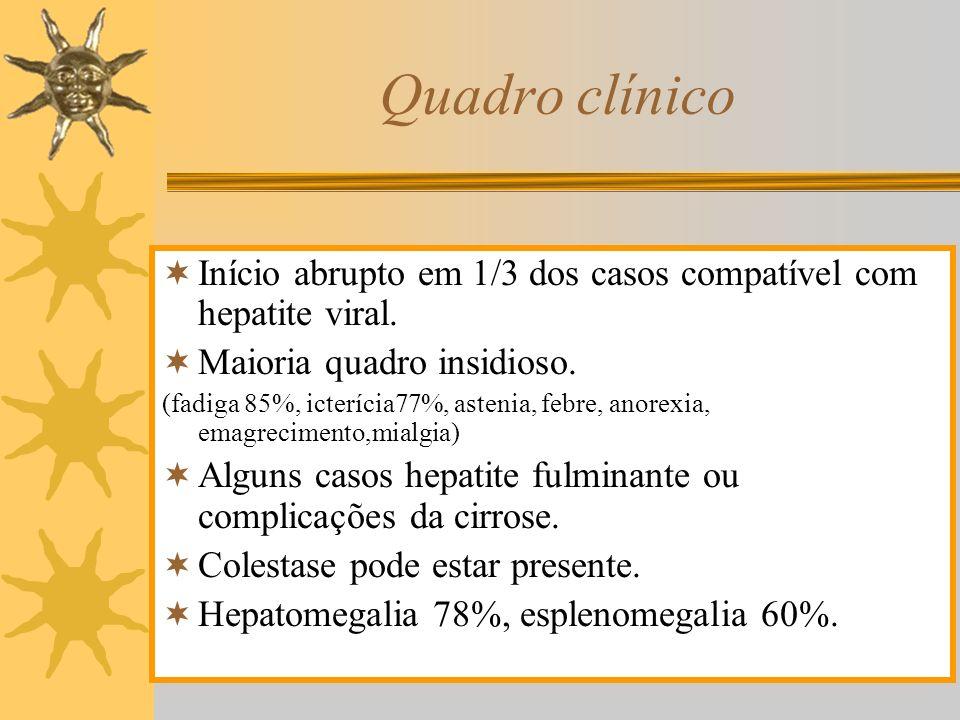 Quadro clínico Início abrupto em 1/3 dos casos compatível com hepatite viral. Maioria quadro insidioso.