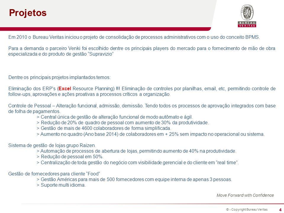 Projetos Em 2010 o Bureau Veritas iniciou o projeto de consolidação de processos administrativos com o uso do conceito BPMS.