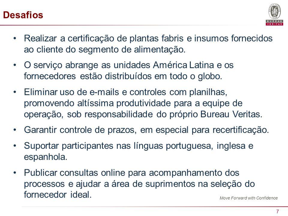 Desafios Realizar a certificação de plantas fabris e insumos fornecidos ao cliente do segmento de alimentação.