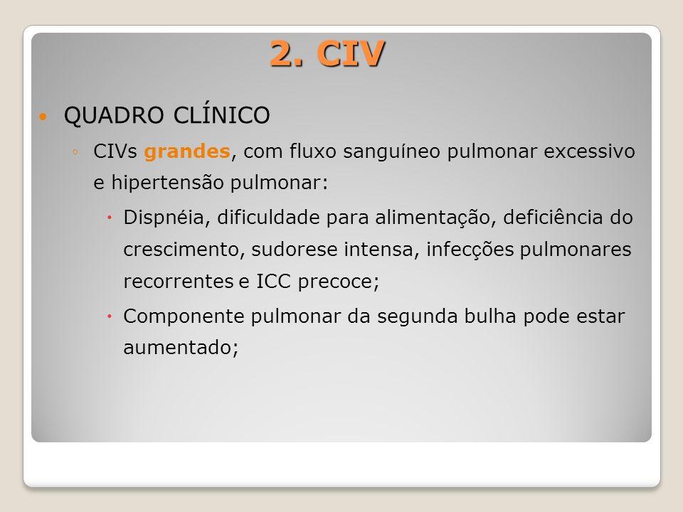 2. CIVQUADRO CLÍNICO. CIVs grandes, com fluxo sanguíneo pulmonar excessivo e hipertensão pulmonar: