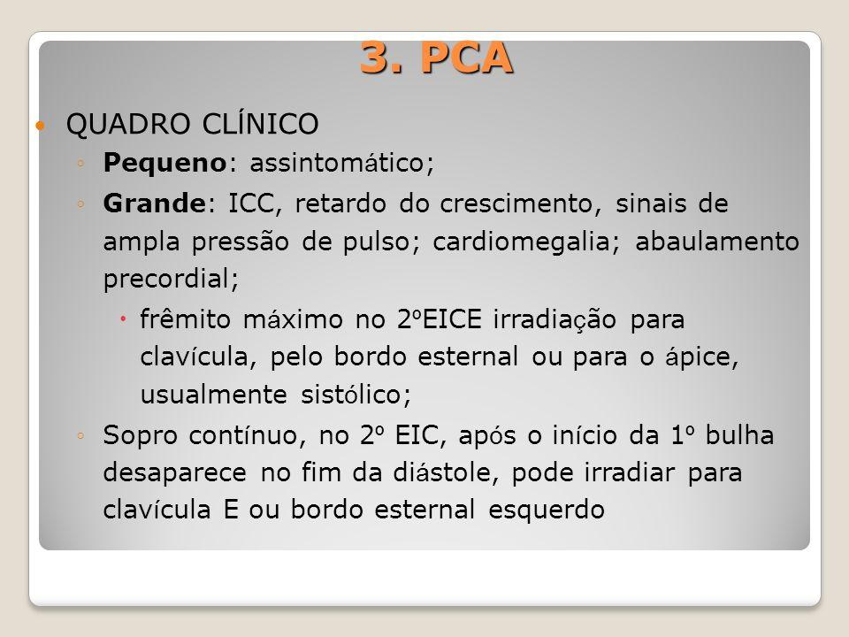 3. PCA QUADRO CLÍNICO Pequeno: assintomático;