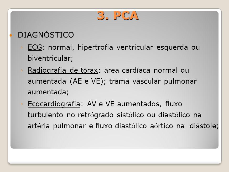 3. PCA DIAGNÓSTICO. ECG: normal, hipertrofia ventricular esquerda ou biventricular;