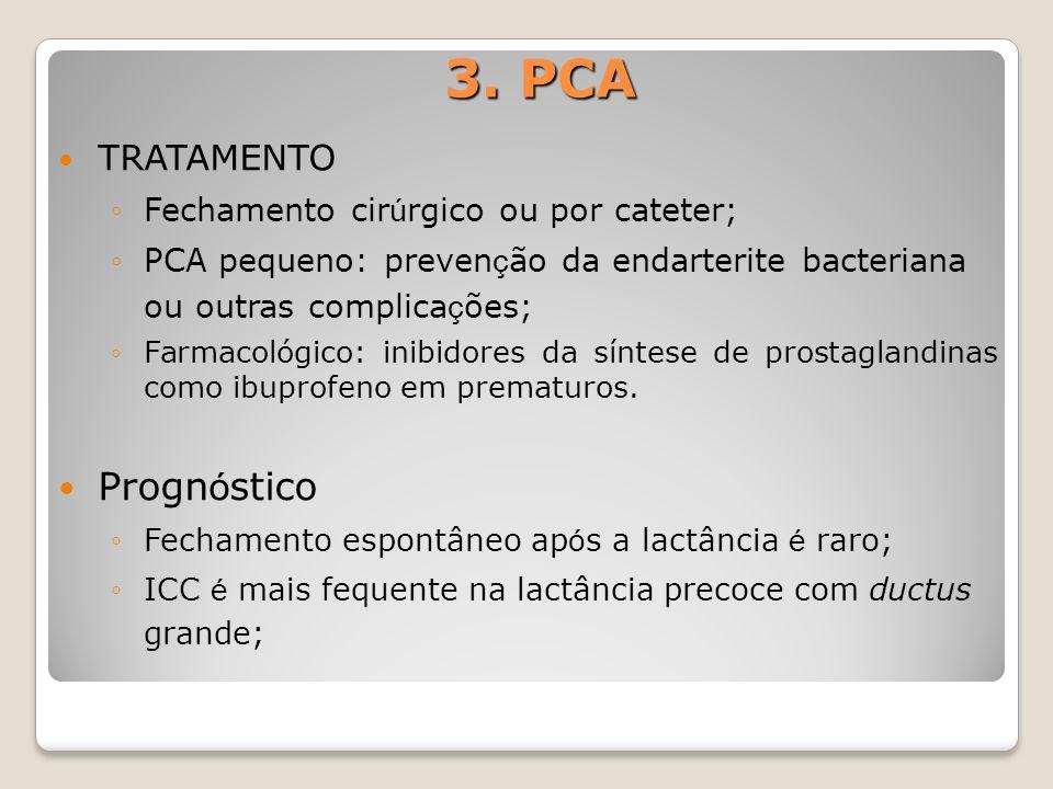 3. PCA Prognóstico TRATAMENTO Fechamento cirúrgico ou por cateter;
