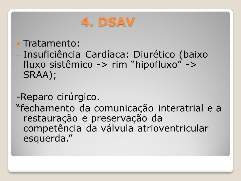 4. DSAV Tratamento: Insuficiência Cardíaca: Diurético (baixo fluxo sistêmico -> rim hipofluxo -> SRAA);