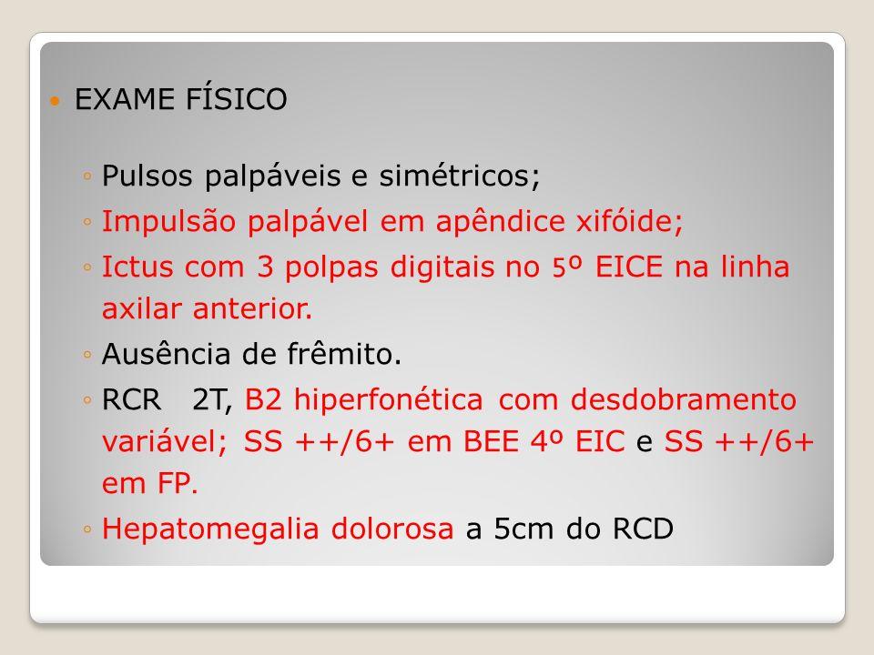 EXAME FÍSICOPulsos palpáveis e simétricos; Impulsão palpável em apêndice xifóide; Ictus com 3 polpas digitais no 5º EICE na linha axilar anterior.
