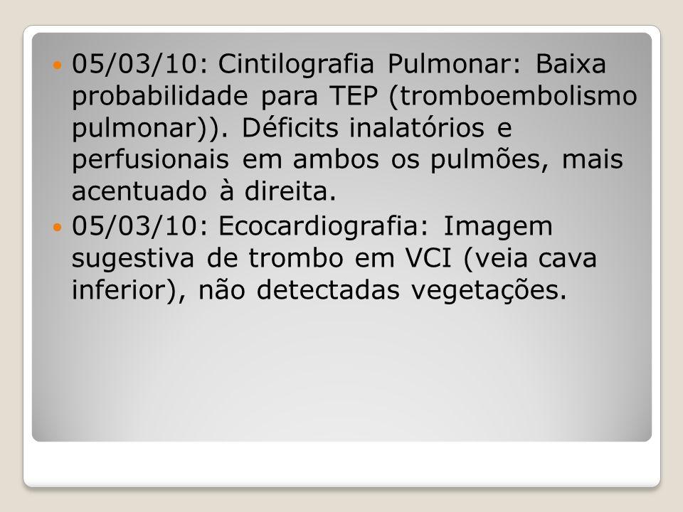 05/03/10: Cintilografia Pulmonar: Baixa probabilidade para TEP (tromboembolismo pulmonar)). Déficits inalatórios e perfusionais em ambos os pulmões, mais acentuado à direita.