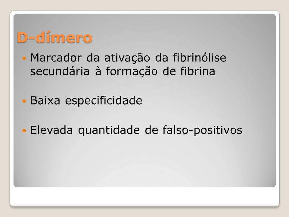 D-dímero Marcador da ativação da fibrinólise secundária à formação de fibrina. Baixa especificidade.