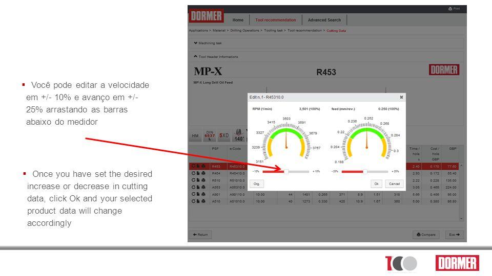 Você pode editar a velocidade em +/- 10% e avanço em +/- 25% arrastando as barras abaixo do medidor