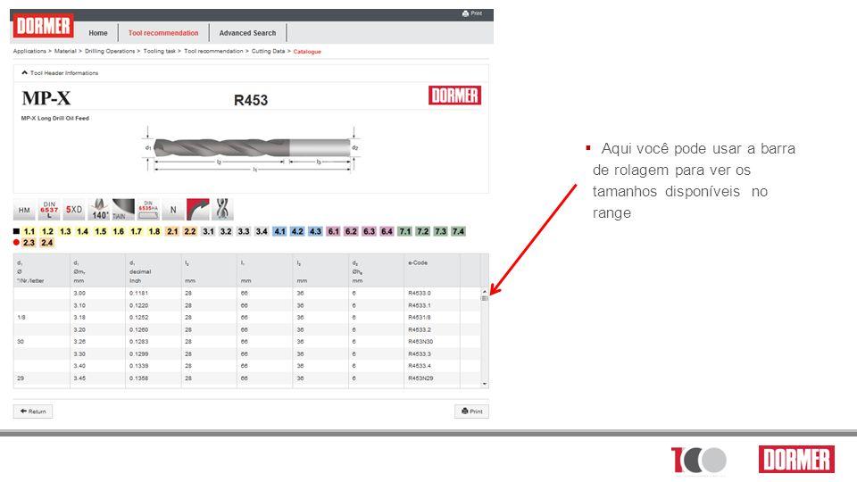 Aqui você pode usar a barra de rolagem para ver os tamanhos disponíveis no range