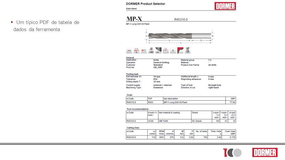 Um típico PDF de tabela de dados da ferramenta