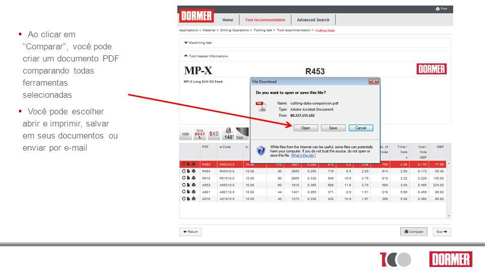 Ao clicar em Comparar , você pode criar um documento PDF comparando todas ferramentas selecionadas