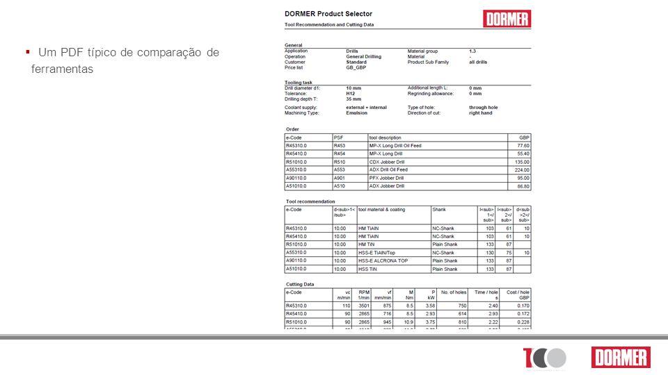 Um PDF típico de comparação de ferramentas