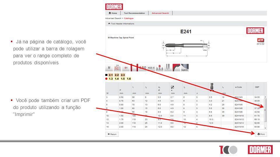 Já na página de catálogo, você pode utilizar a barra de rolagem para ver o range completo de produtos disponíveis