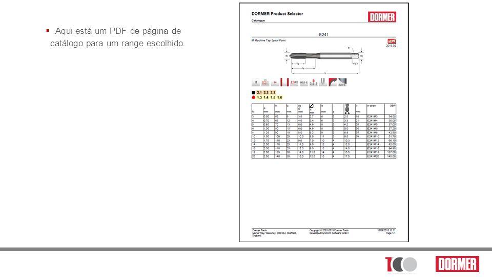 Aqui está um PDF de página de catálogo para um range escolhido.
