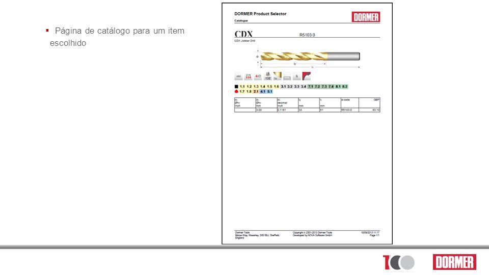 Página de catálogo para um item escolhido
