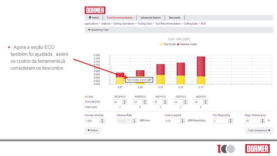 Agora a seção ECO também foi ajustada , assim os custos da ferramenta já consideram os descontos