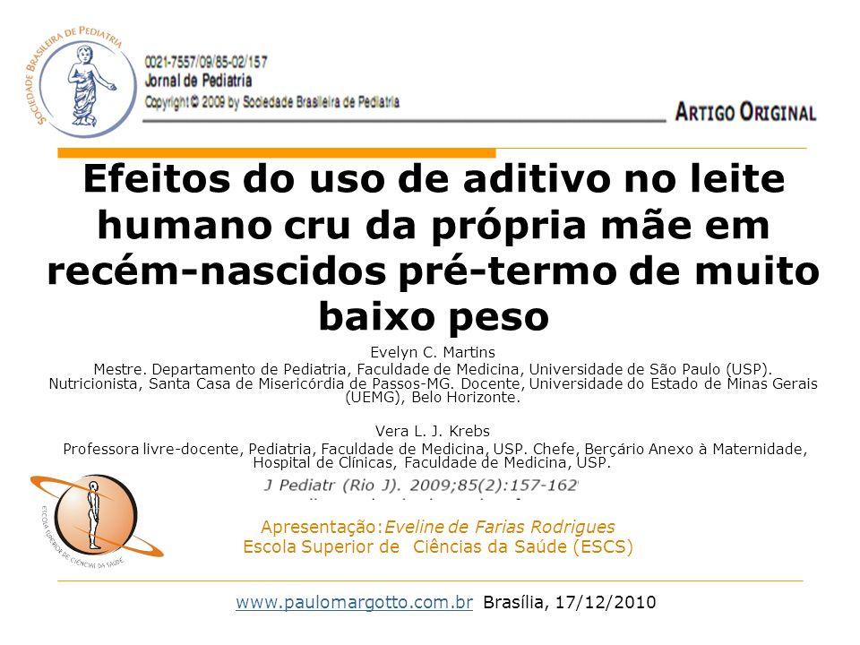Efeitos do uso de aditivo no leite humano cru da própria mãe em recém-nascidos pré-termo de muito baixo peso