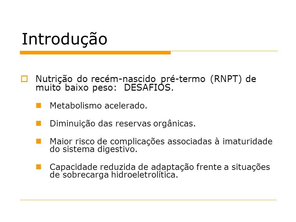 IntroduçãoNutrição do recém-nascido pré-termo (RNPT) de muito baixo peso: DESAFIOS. Metabolismo acelerado.