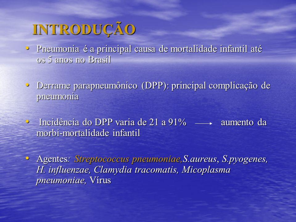 INTRODUÇÃO Pneumonia é a principal causa de mortalidade infantil até os 5 anos no Brasil.