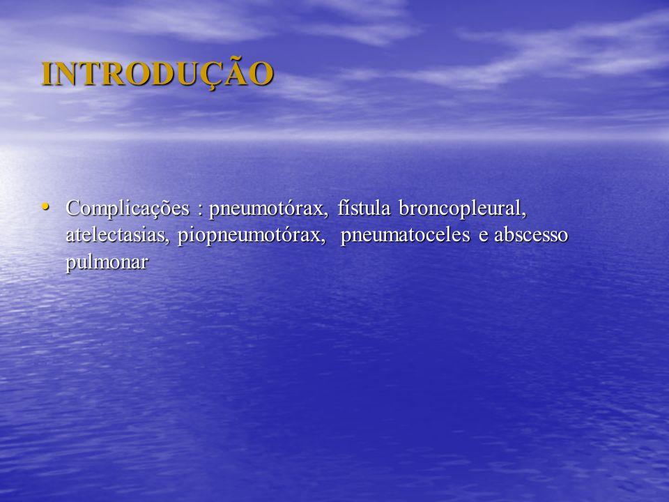 INTRODUÇÃO Complicações : pneumotórax, fístula broncopleural, atelectasias, piopneumotórax, pneumatoceles e abscesso pulmonar.