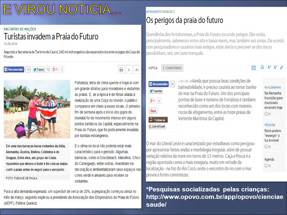 Pesquisas socializadas pelas crianças: http://www. opovo. com