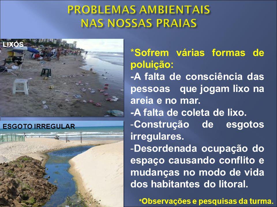 *Sofrem várias formas de poluição: