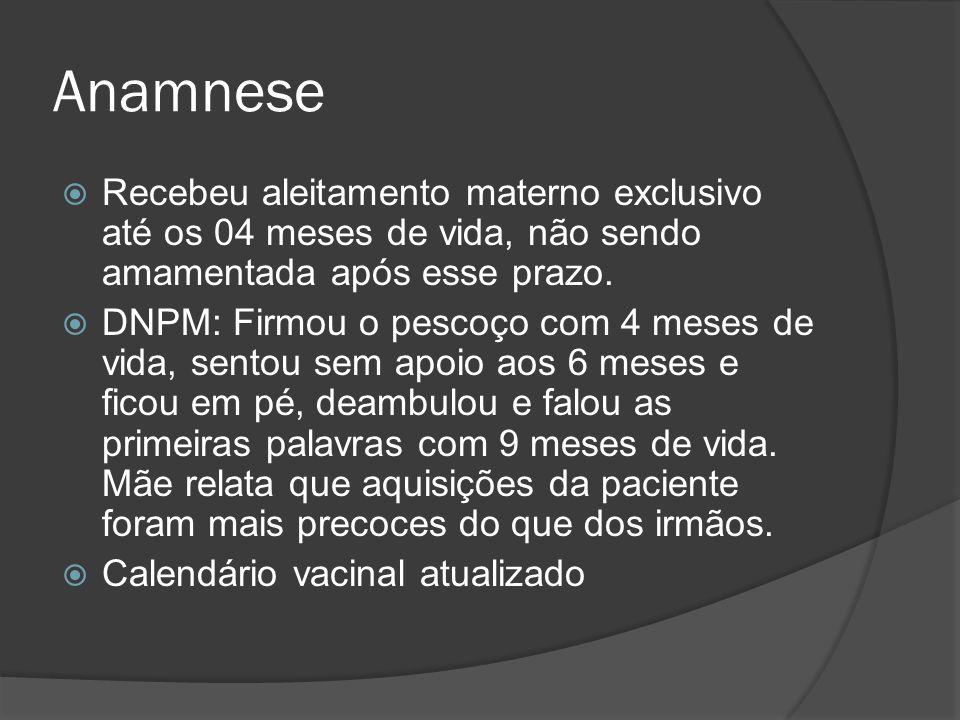 Anamnese Recebeu aleitamento materno exclusivo até os 04 meses de vida, não sendo amamentada após esse prazo.