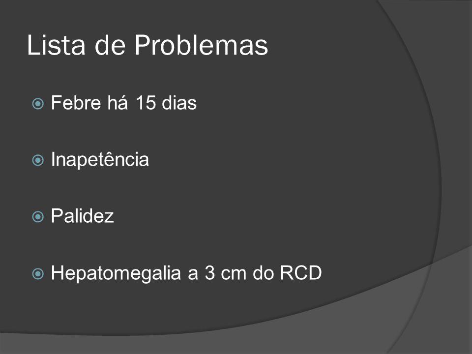 Lista de Problemas Febre há 15 dias Inapetência Palidez