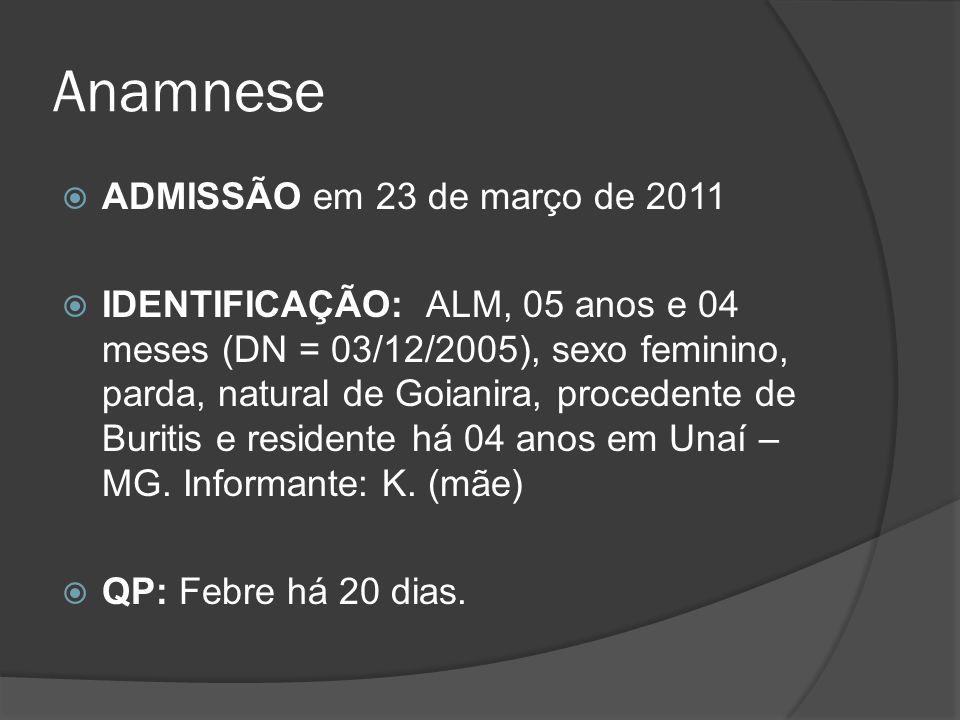 Anamnese ADMISSÃO em 23 de março de 2011