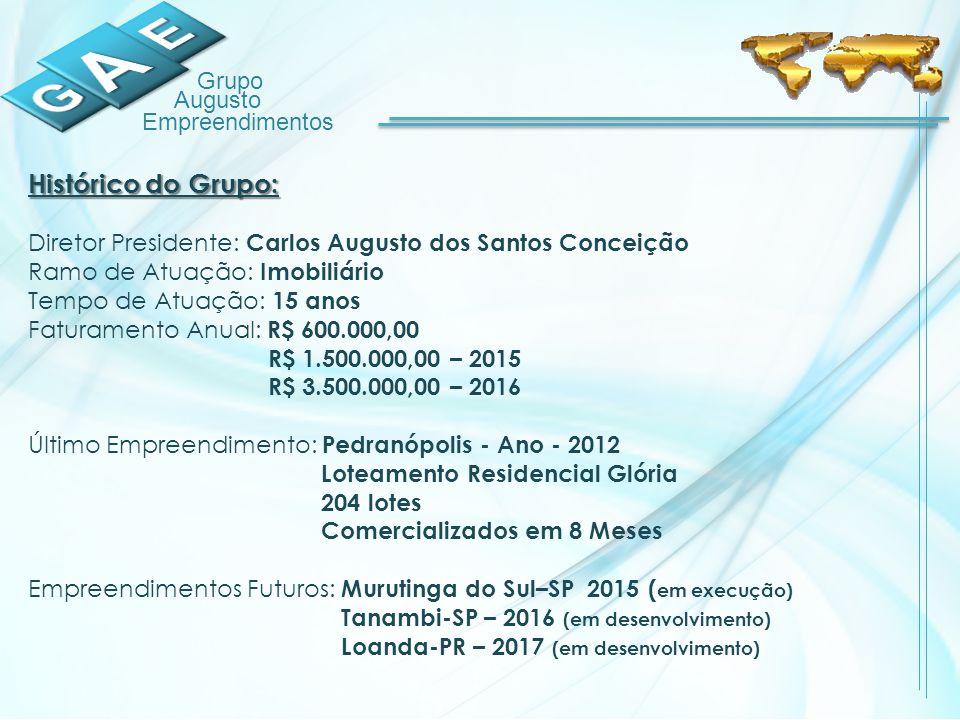 Histórico do Grupo: Diretor Presidente: Carlos Augusto dos Santos Conceição. Ramo de Atuação: Imobiliário.