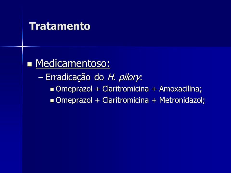 Tratamento Medicamentoso: Erradicação do H. pilory: