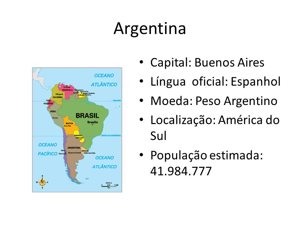 Argentina Capital: Buenos Aires Língua oficial: Espanhol
