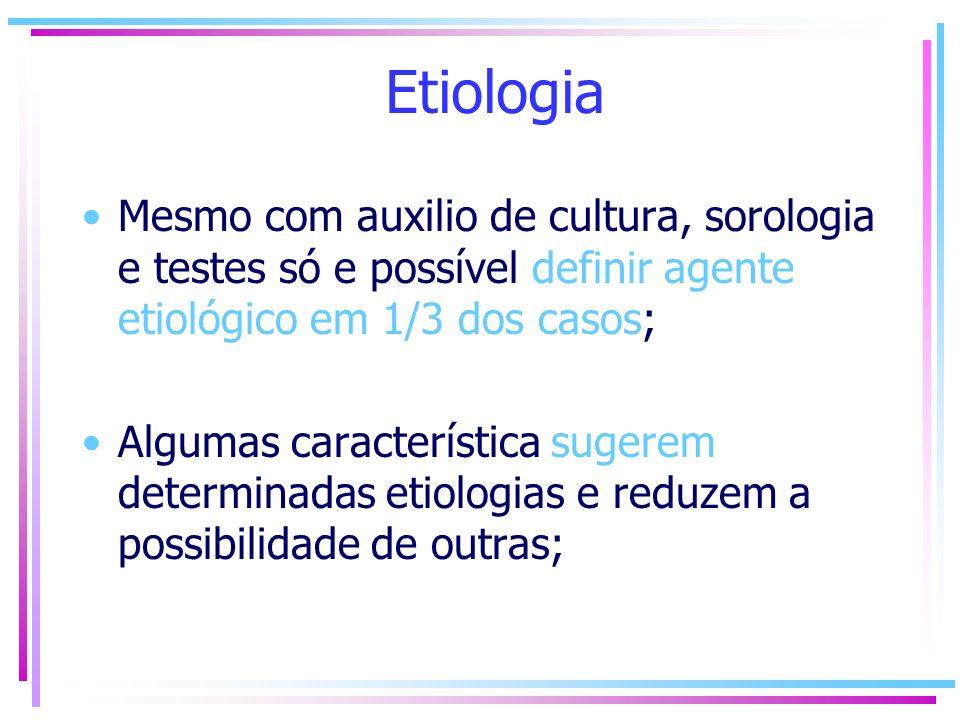 Etiologia Mesmo com auxilio de cultura, sorologia e testes só e possível definir agente etiológico em 1/3 dos casos;