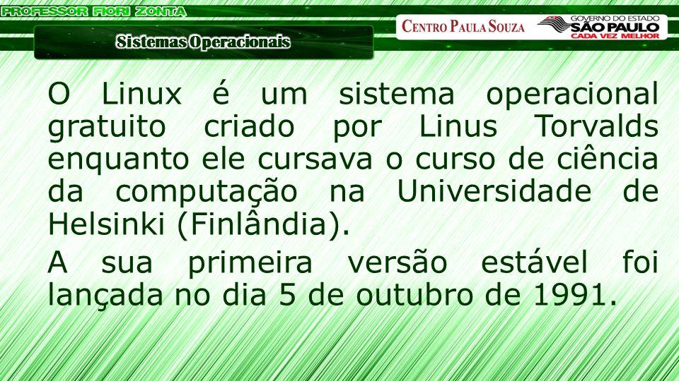 O Linux é um sistema operacional gratuito criado por Linus Torvalds enquanto ele cursava o curso de ciência da computação na Universidade de Helsinki (Finlândia).