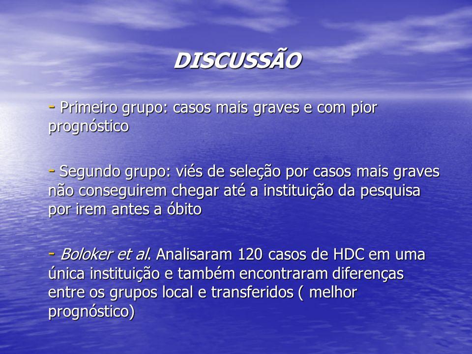 DISCUSSÃO Primeiro grupo: casos mais graves e com pior prognóstico