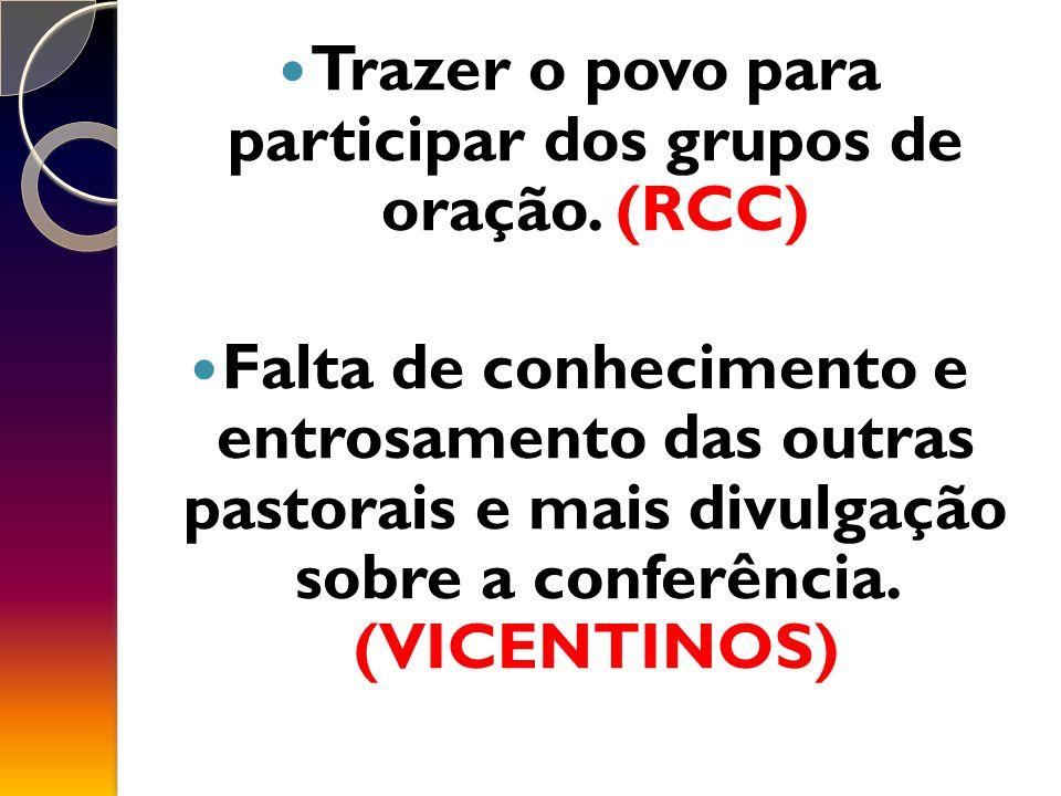 Trazer o povo para participar dos grupos de oração. (RCC)