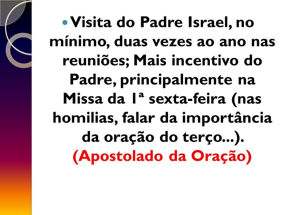 Visita do Padre Israel, no mínimo, duas vezes ao ano nas reuniões; Mais incentivo do Padre, principalmente na Missa da 1ª sexta-feira (nas homilias, falar da importância da oração do terço...).