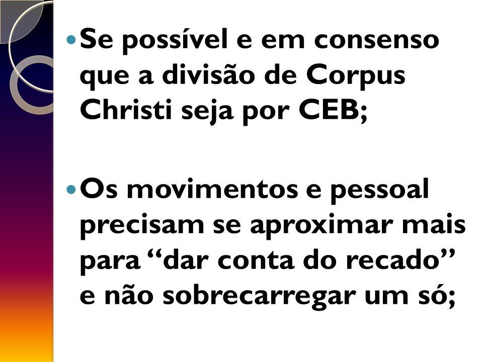 Se possível e em consenso que a divisão de Corpus Christi seja por CEB;