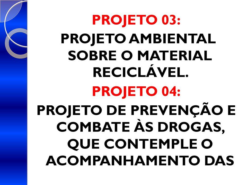 PROJETO AMBIENTAL SOBRE O MATERIAL RECICLÁVEL.