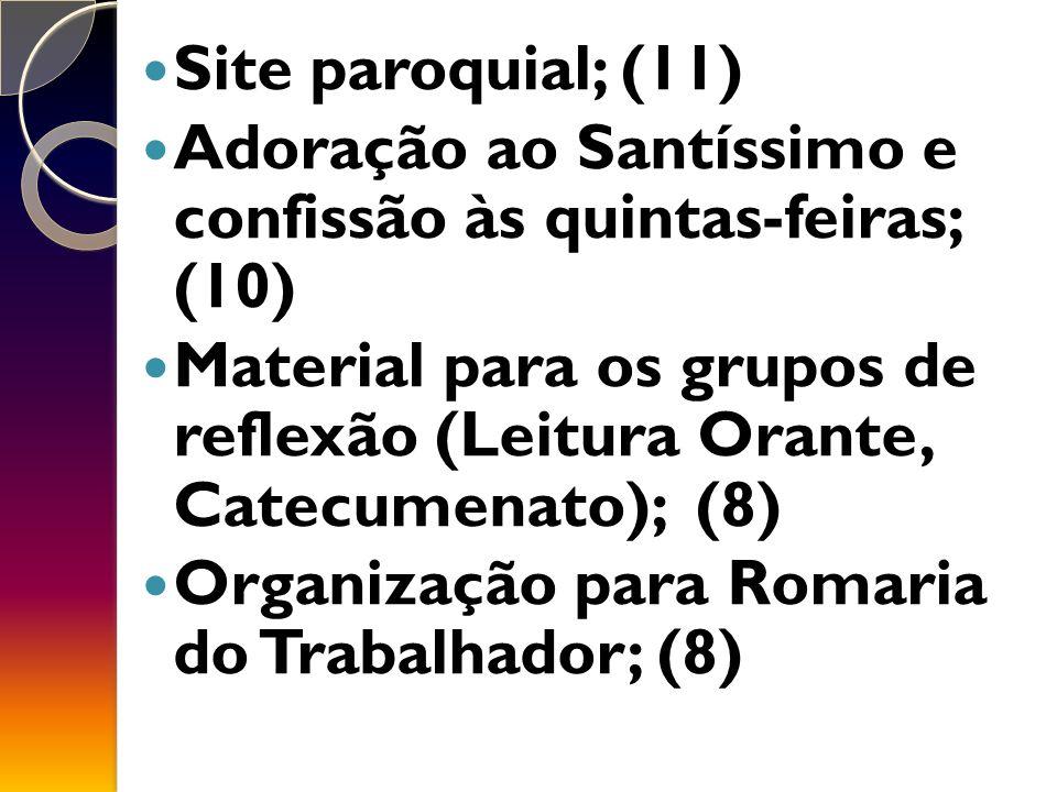 Site paroquial; (11) Adoração ao Santíssimo e confissão às quintas-feiras; (10)
