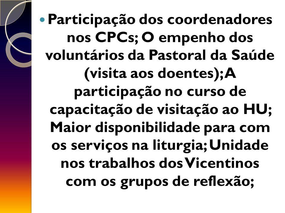 Participação dos coordenadores nos CPCs; O empenho dos voluntários da Pastoral da Saúde (visita aos doentes); A participação no curso de capacitação de visitação ao HU; Maior disponibilidade para com os serviços na liturgia; Unidade nos trabalhos dos Vicentinos com os grupos de reflexão;